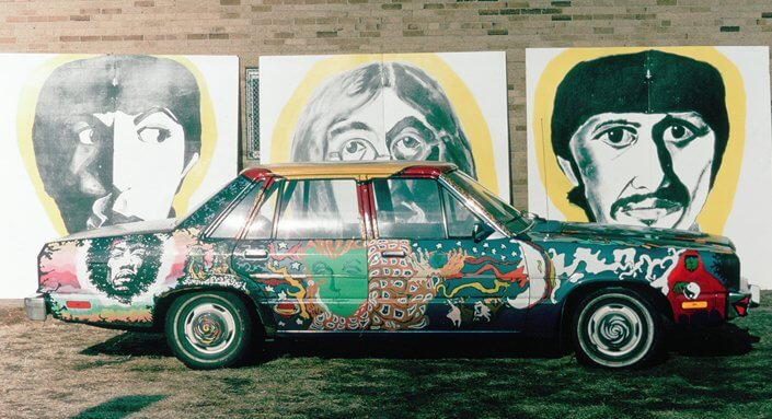 Our high school car, The Psychedelic Chariot, took us all summer to paint.