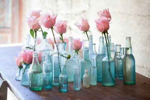 vintage glass bottles pink roses