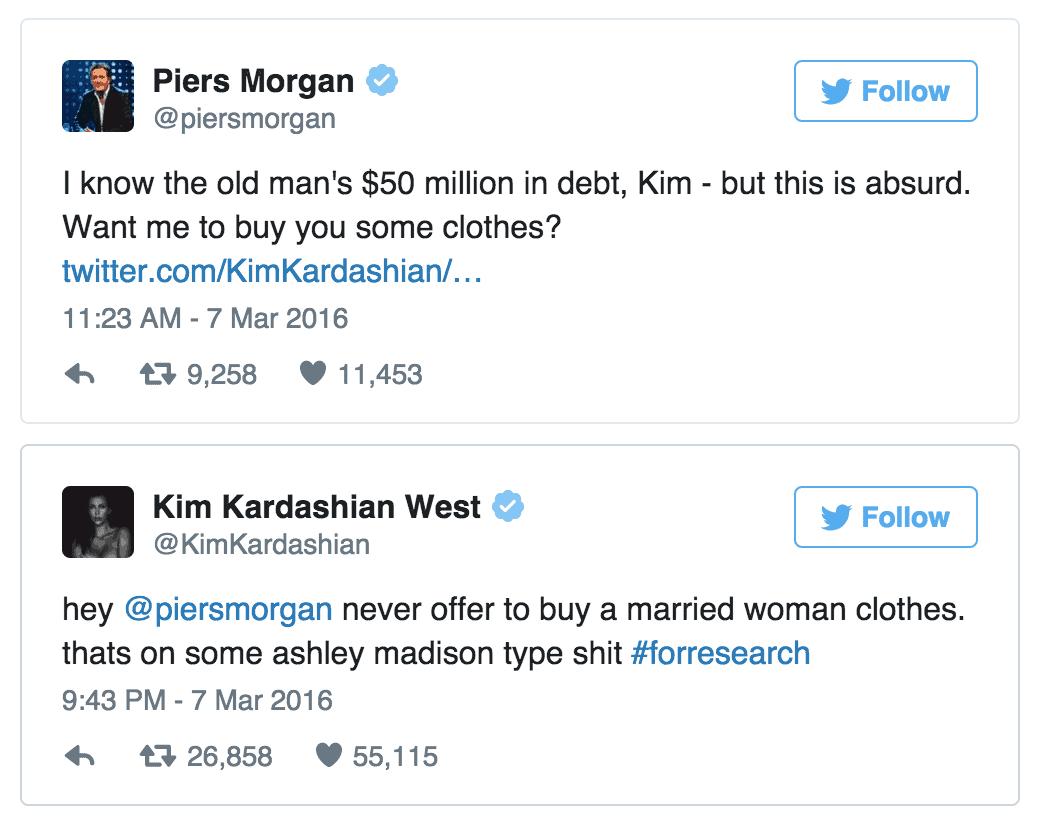 Piers Morgan Kim Kardashian Twitter