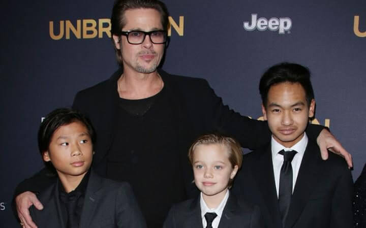 brad pitt with preteens and teens
