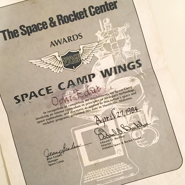 Ophi's Space Camp wings