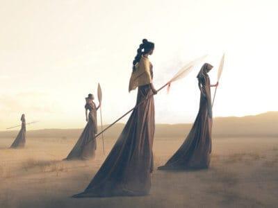 futuristic women walking through landscape in spirit of aquarius wellness in astrology