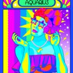 aquarius woman wearing star sunglasses grand dame art for astrostyle aquarius season