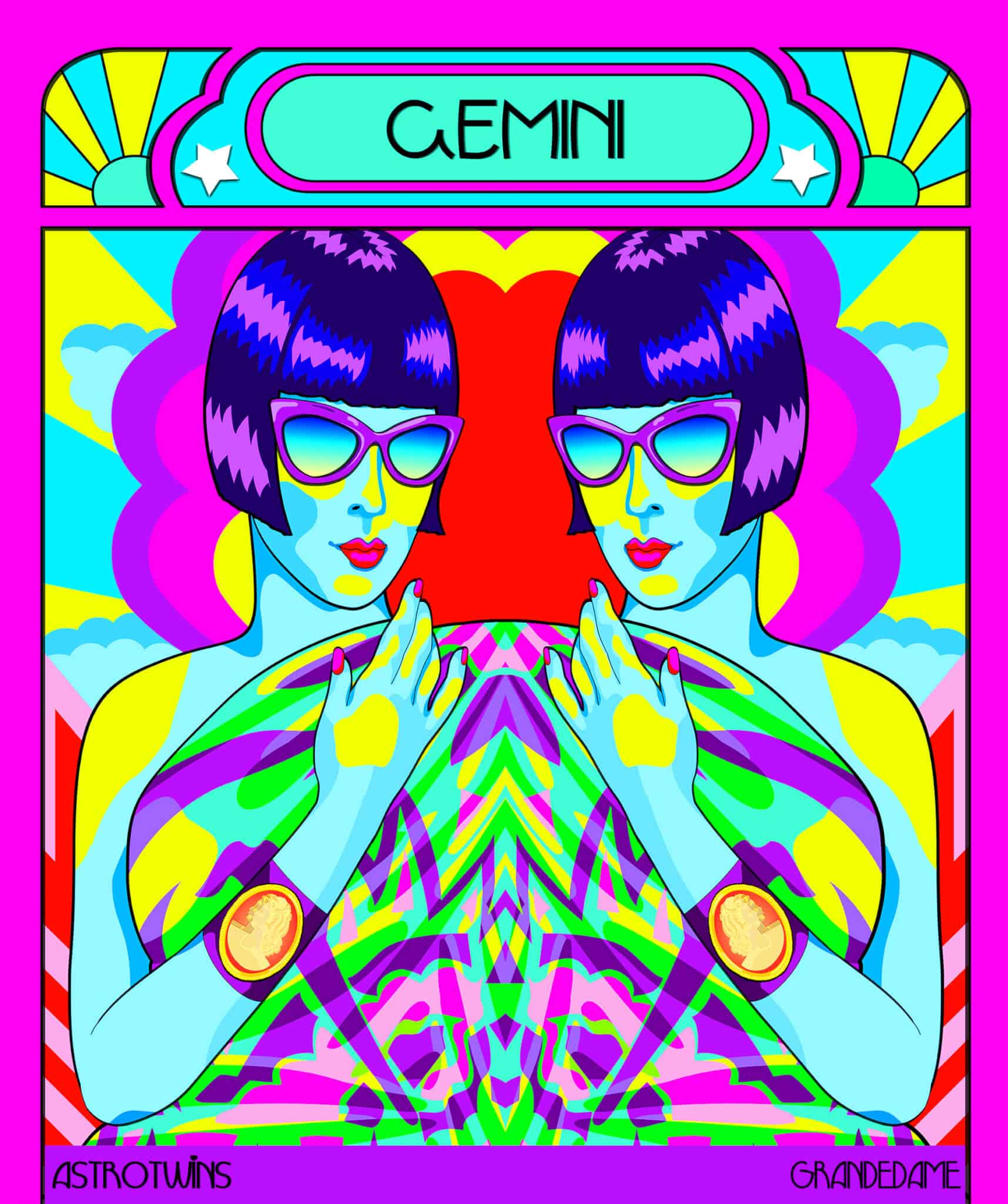 Gemini season artwork by Grande Dame for the AstroTwins on Astrostyle.com