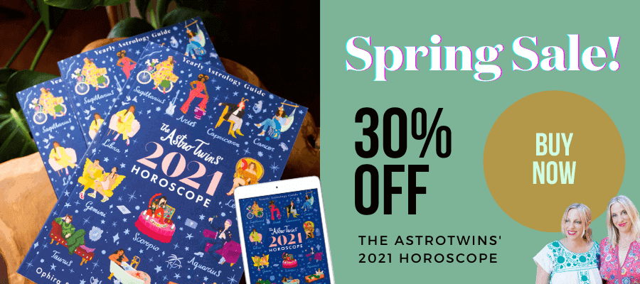 30% off The AstroTwins' 2021 Horoscope Book - spring sale!